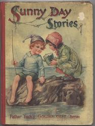 SUNNY DAY STORIES boy sits on rock fishing, little girl stands beside holding pail
