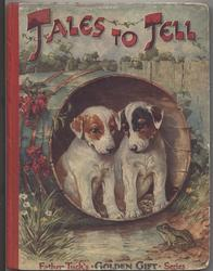 TALES TO TELL two dogs in wooden barrel watching small green frog