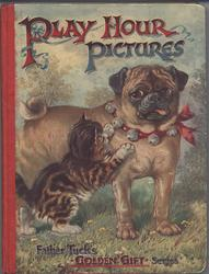 PLAY HOUR PICTURES pug dog with red collar and bells with kitten
