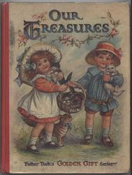 OUR TREASURES boy and girl with basket and cats