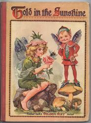 TOLD IN THE SUNSHINE flower fairy sits on rock and talks to a pixie standing on a mushroom