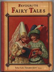 FAVOURITE FAIRY TALES girl in fancy yellow dress with big hat and boy in green  feathered hat read book