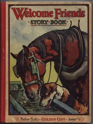 WELCOME FRIENDS STORY BOOK plow horse and dog drink from water trough