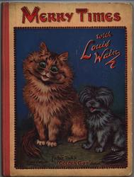 MERRY TIMES WITH LOUIS WAIN large ginger coloured cat sitting with small black dog