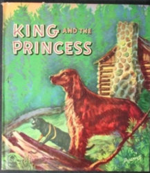 KING AND THE PRINCESS large dog stands before a log cabin in the wilderness