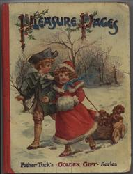 PLEASURE PAGES girl and boy pull wooden wagon containing puppies through the snow