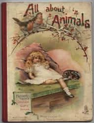 ALL ABOUT ANIMALS young girl in white dress lays on daybed with cat to her left and two robins on a branch above