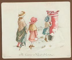 three children posting letters into a post box