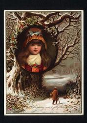 circular inset of girls face in tree, snow and old person walling along lane