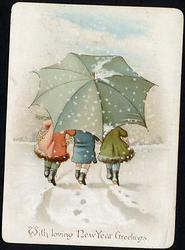 three children walk under large umbrella