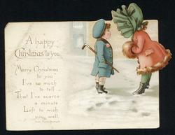 A HAPPY CHRISTMAS TO YOU, girl in large bonnet, child in blue