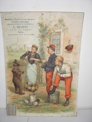 bear on hind legs entertaining two soldiers in uniform and housemaid