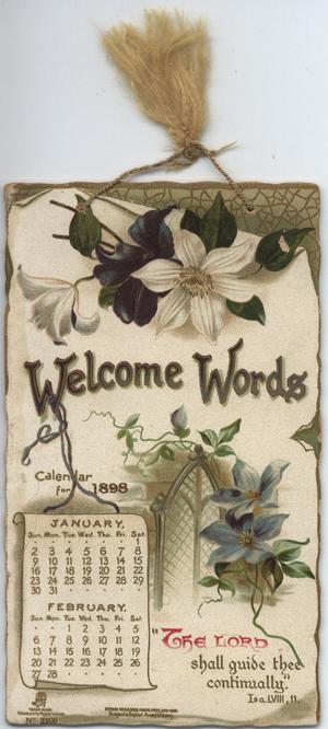 WELCOME WORDS CALENDAR FOR 1898