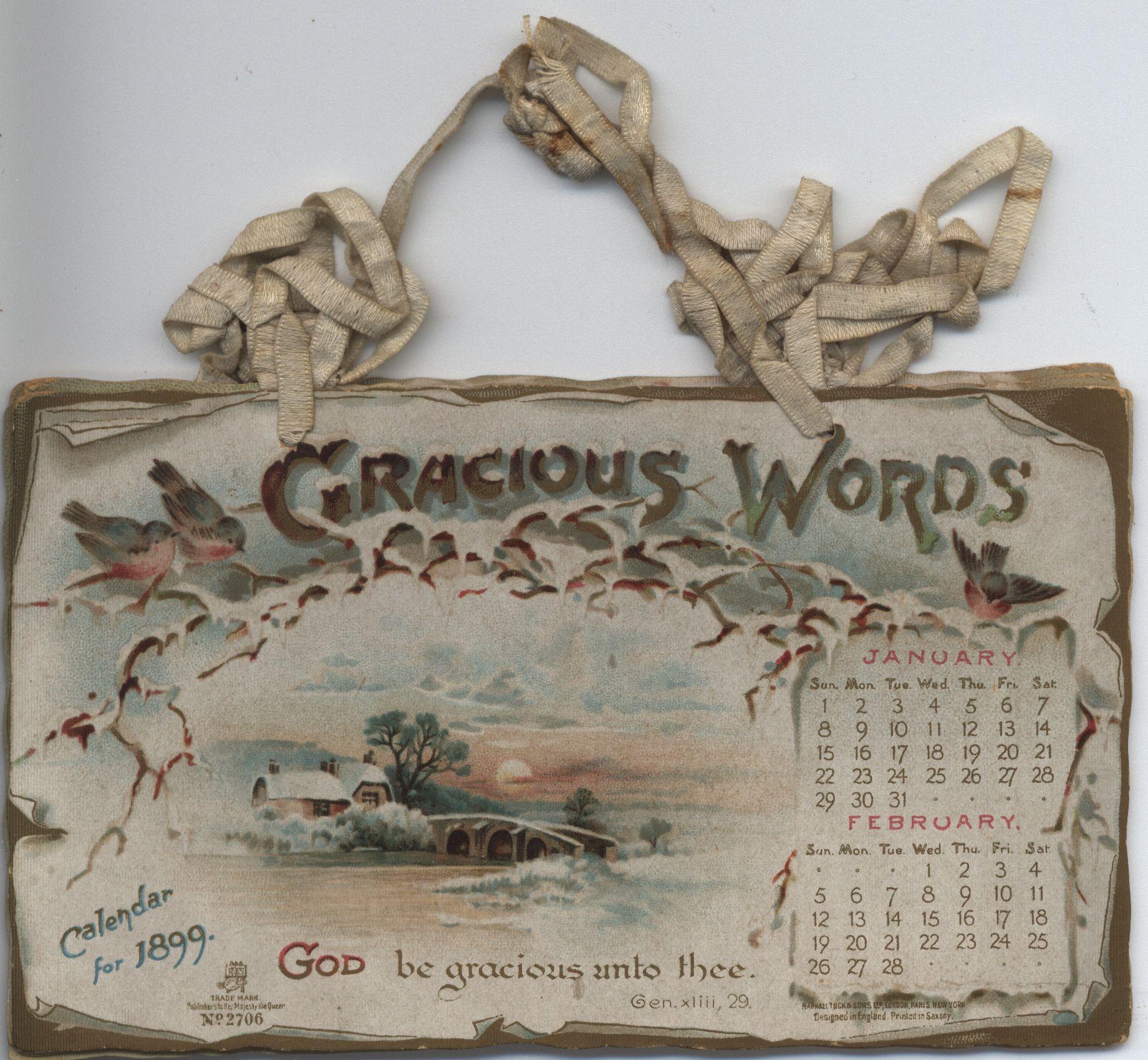 GRACIOUS WORDS CALENDAR FOR 1899