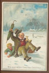 gentleman falls on child holding snowball