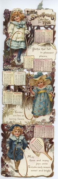 LITTLE SWEETHEARTS CALENDAR FOR 1902