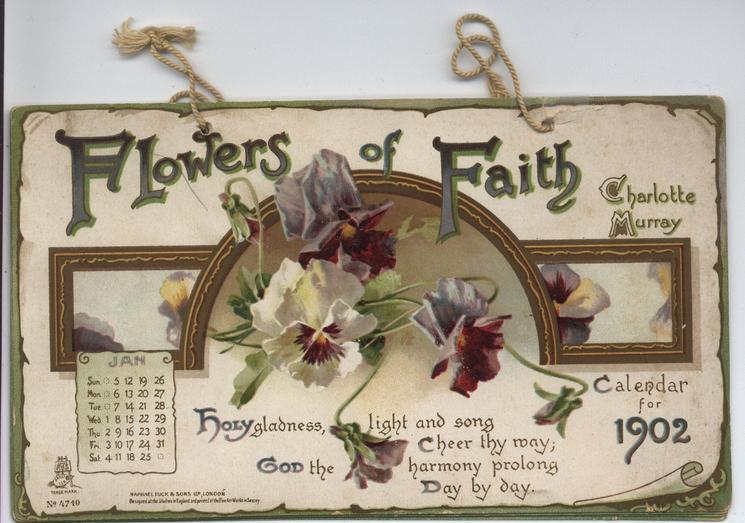 FLOWERS OF FAITH CALENDAR FOR 1902