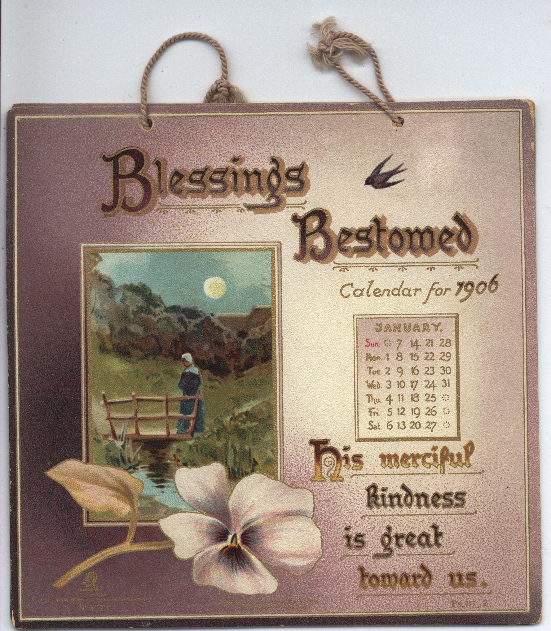 BLESSINGS BESTOWED CALENDAR FOR 1906