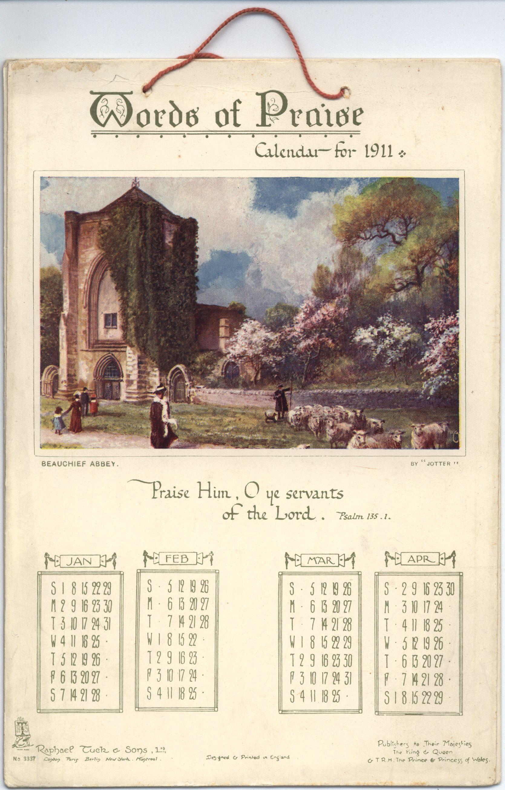 WORDS OF PRAISE CALENDAR FOR 1911