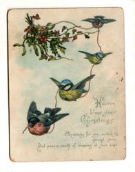 four birds fly with garland and holly bunch