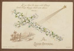 AN EASTER OFFERING white floral cross with star over person walking
