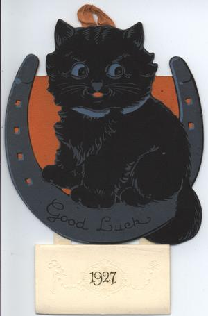 GOOD LUCK 1927 black cat sitting in horseshoe