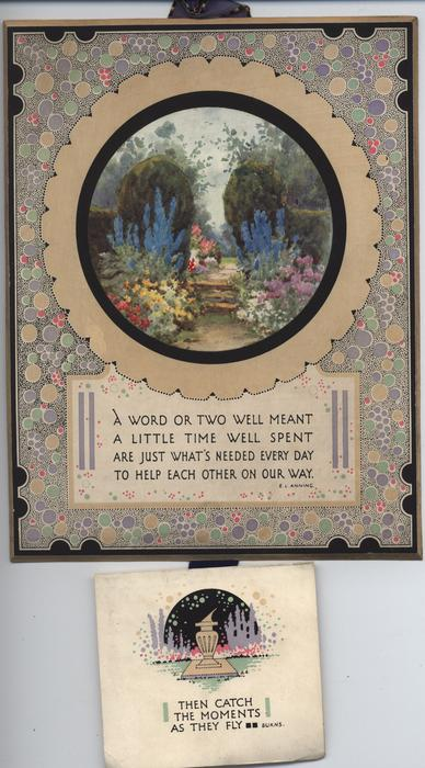 circular garden scene inset on decorative panel