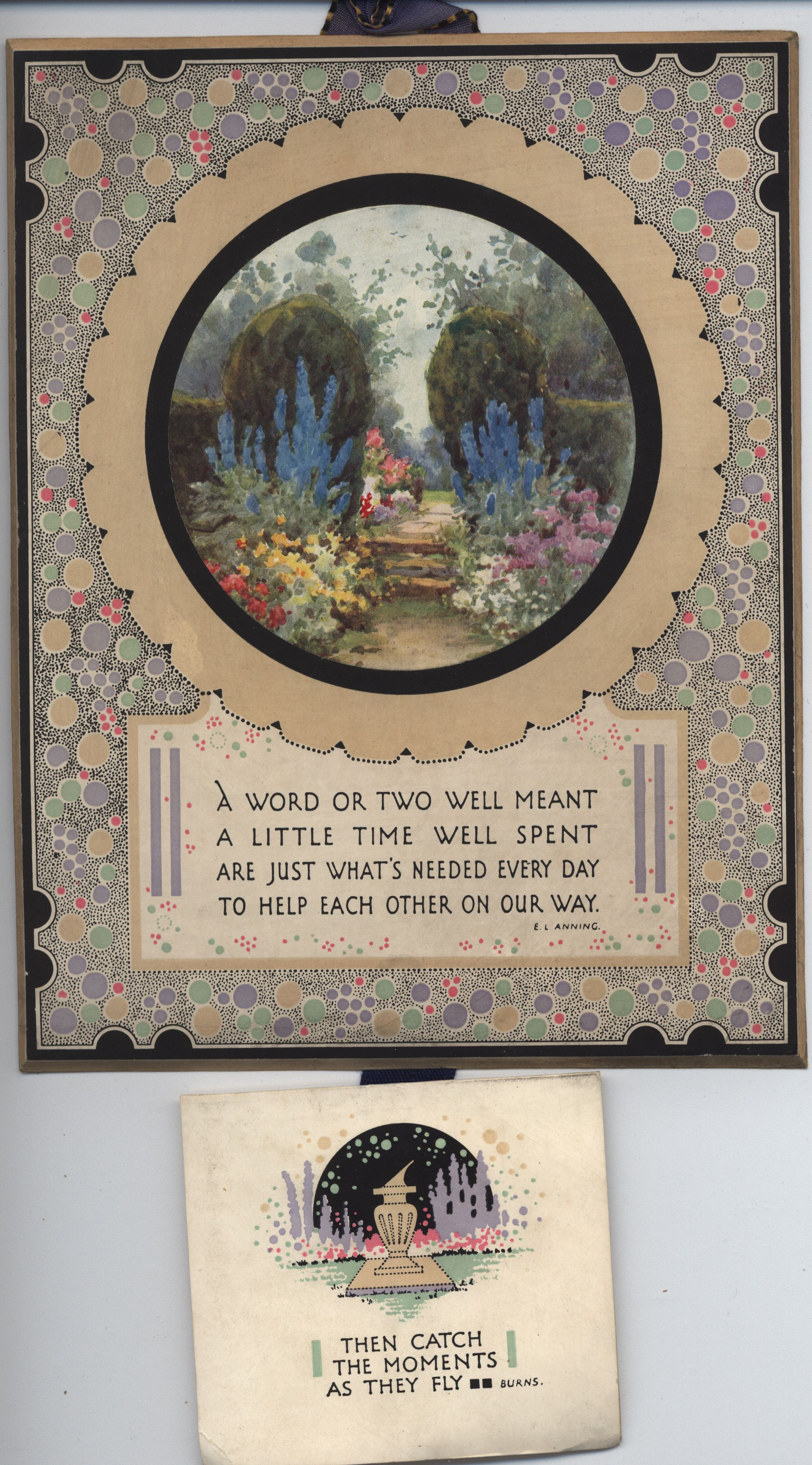 circular garden scene inset on decorative panel