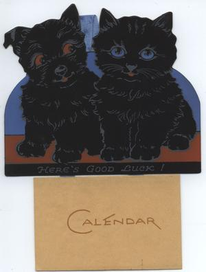 HERE'S GOOD LUCK black puppy and kitten