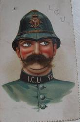 policeman, blue uniform I.C.U. 98 on collar, eyes look to his left