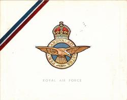 "ROYAL AIR  FORCE  below gilt & blue crest & motto  PER ARDUA AD ASTRA, with or w/o printed ""ribbon"""