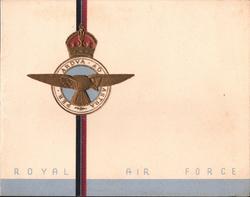 "ROYAL AIR  FORCE gilt  & blue crest, ""ribbon"" printed vertically, 0.8 cm grey bottom margin"