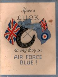 HERE'S LUCK TO MY BOY IN AIR FORCE BLUE! crossed Union Jack & R.A.F. flag