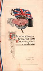 Union Jack over clasped hands & globe