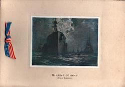 SILENT MIGHT (Royal Academy) inset panel:- painting night scene of convoy of ships