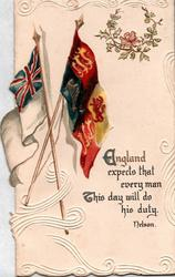 ENGLAND EXPECTS THAT EVERY MAN THIS DAY WILL DO HIS DUTY two United Kingdom flags,pink rose in wreath