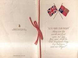 "crossed Union Jack & flag over panel :-""GOD AND OUR RIGHT"" general wording"