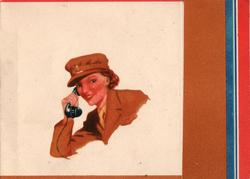 no front title, woman in A.T.S (Auxiliary Territorial Service),.uniform using telephone, colours right