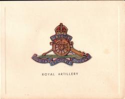 ROYAL ARTILLERY gilt & blue crest, motto UBIQUE QUO FAS ET GLORIA DUCUNT