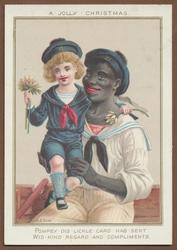 black man in white sailor suit holds young boy in blue sailor suit