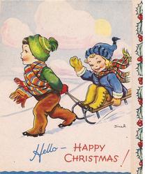 HELLO- HAPPY CHRISTMAS! boy pulls girl on sled