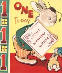 ONE TO-DAY father rabbit looks down at baby rabbit, panel of 1's left