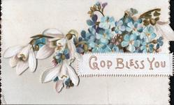 GOD BLESS YOU on plaque below sprays of blue forget-me-nots & three snowdrops left