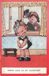 HERE'S LUCK TO MY VALENTINE! girl maid with sooty kiss mark from boy chimney sweep