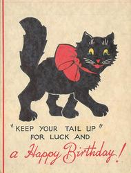 KEEP YOUR TAIL UP FOR LUCK AND A HAPPY BIRTHDAY black cat with large red bow walks right