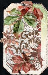 GOOD WISHES in gilt on heavily perforated front, virginia creeper leaves in autumn colours above & below