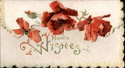 HEARTY WISHES in gilt below red poppies