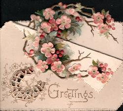 GREETINGS in gilt below pink cherry blossom, perforated horseshoe design left