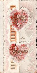 HEARTY GREETINGS split between two hearts with pink cherry blossom, perforated design left