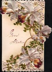GOOD WISHES, pale purple iris around, many perforated wheel designs